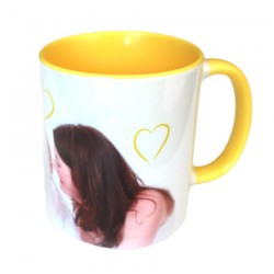 Personalized photo mug yellow high quality print