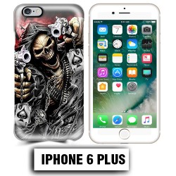 Coque iphone 6 PLUS tete de mort pistolet