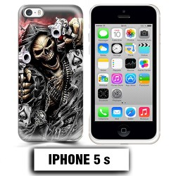 Coque iphone 5 5S tete de mort pistolet