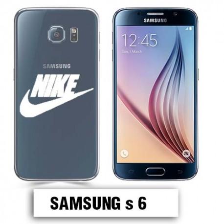 Coque transparente Samsung S6 Nike blanc