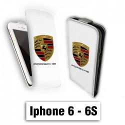 Etui cuir à rabat vertical Iphone 6 6S logo Porsch