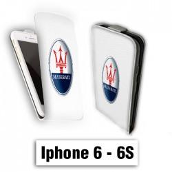 Etui cuir à rabat vertical Iphone 6 6S logo maserati