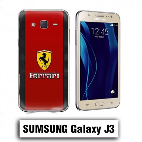 Coque Samsung J3 2016 Logo Ferrrari rouge carbone